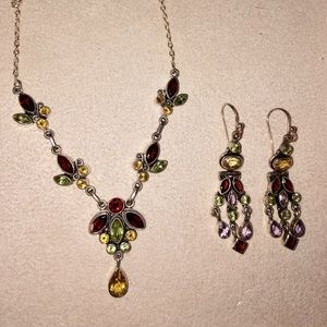Jewelry - Multi gemstone necklace and earrings in sterling